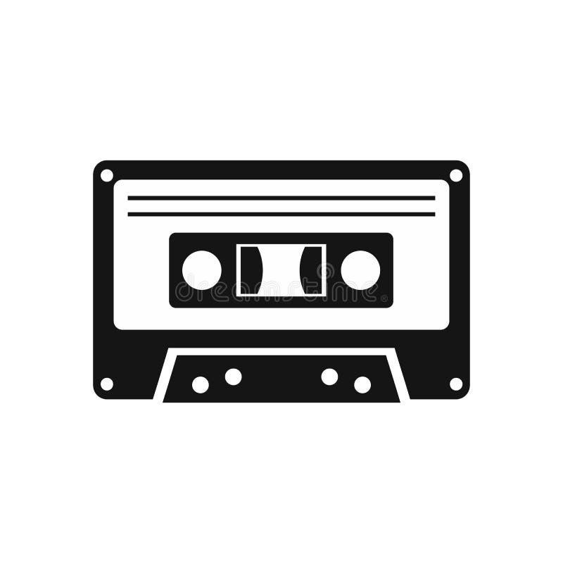 Ícone da cassete de banda magnética, estilo simples ilustração stock