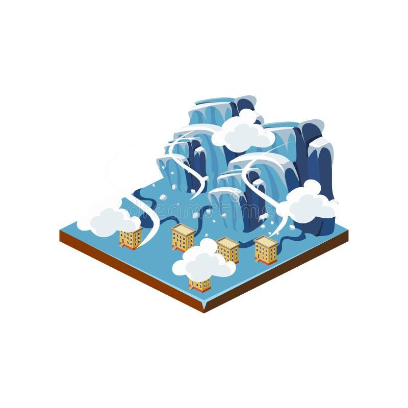 Ícone da catástrofe natural da crosta de gelo Ilustração do vetor ilustração stock