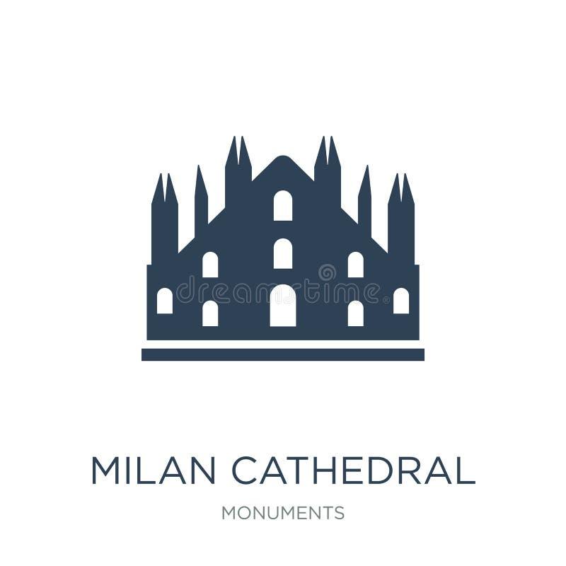 ícone da catedral de Milão no estilo na moda do projeto ícone da catedral de Milão isolado no fundo branco ícone do vetor da cate ilustração royalty free
