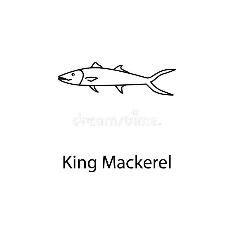 ícone da cavala de rei Elemento da vida marinha para apps móveis do conceito e da Web A linha fina ícone da cavala de rei pode se ilustração do vetor