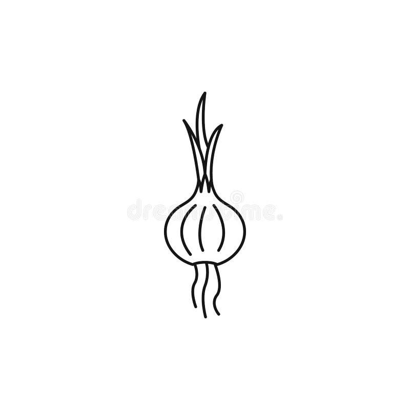 Ícone da cebola, estilo do esboço ilustração stock