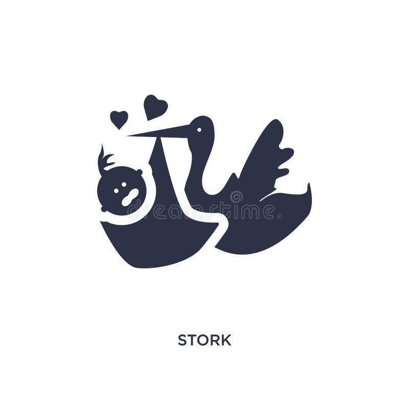 ícone da cegonha no fundo branco Ilustração simples do elemento do conceito da criança e do bebê ilustração royalty free