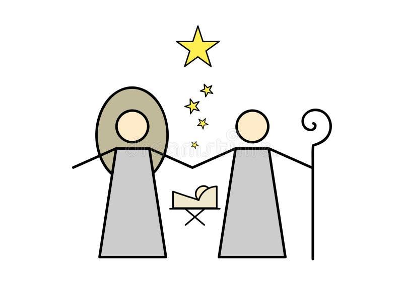Ícone da cena da natividade ilustração royalty free