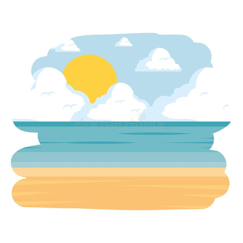 Ícone da cena do seascape da praia ilustração do vetor