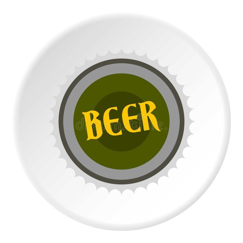 Ícone da cerveja da tampa, estilo liso ilustração do vetor