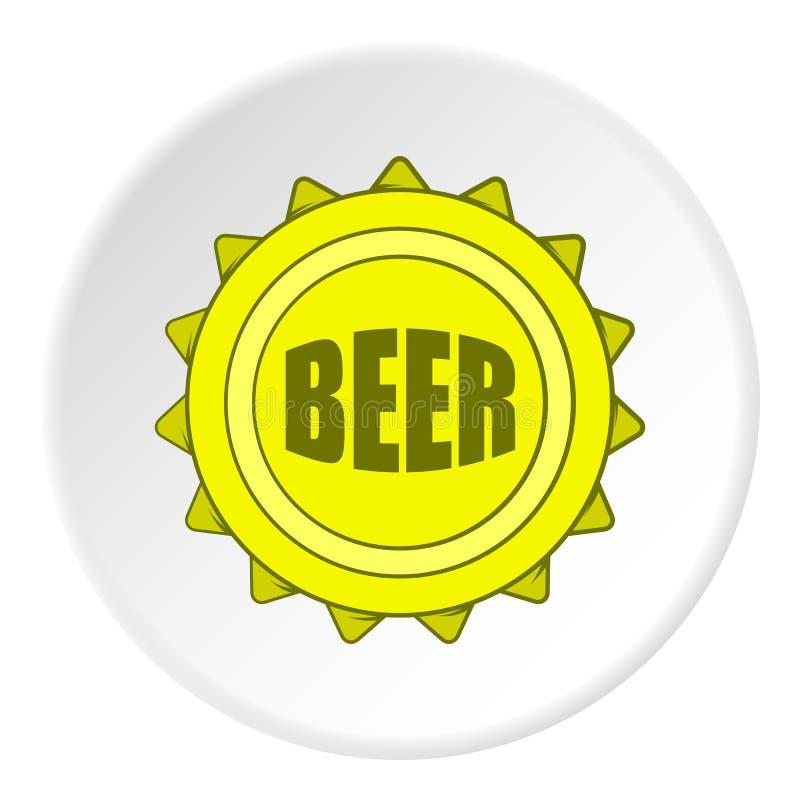 Ícone da cerveja da tampa, estilo dos desenhos animados ilustração stock