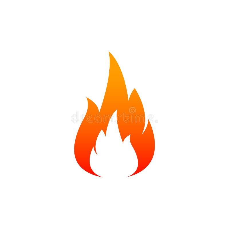 ícone da chama do fogo Óleo, conceito do gás e da energia e alimento quente Projeto liso, ilustração do vetor no fundo fotografia de stock