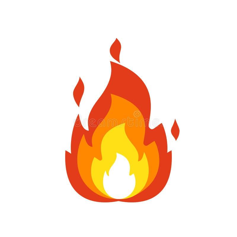ícone da chama do fogo Sinal isolado da fogueira, símbolo da chama do emoticon isolados no emoji branco, do fogo e na ilustração  ilustração do vetor