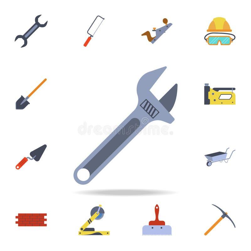 ícone da chave inglesa ajustável de extremidade aberta da cor Grupo detalhado de ferramentas da construção da cor Projeto gráfico ilustração royalty free