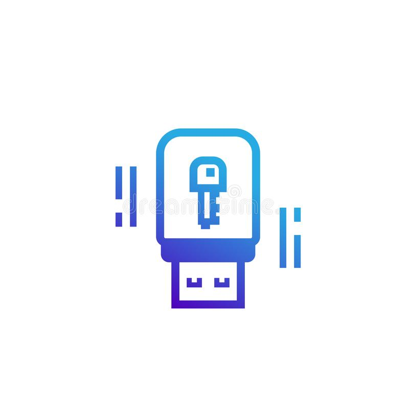 Ícone da chave da segurança da vara do Usb ilustração stock