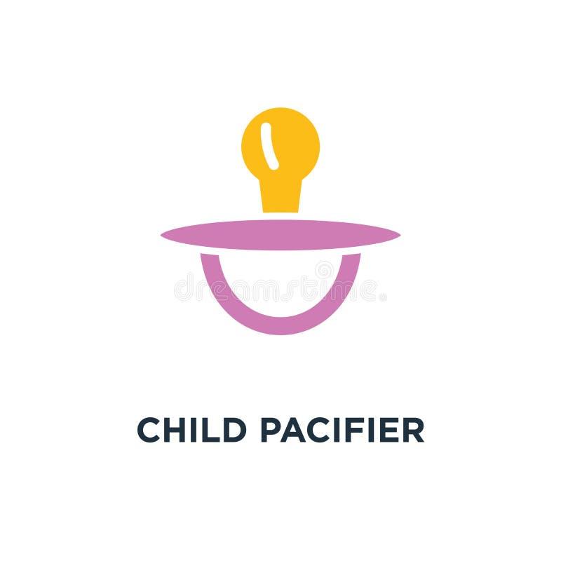 ícone da chupeta da criança projeto do símbolo do conceito da criança do bebê, brinquedo do sono ilustração royalty free