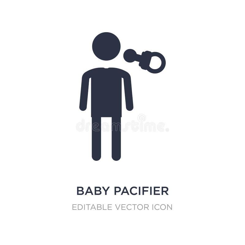Ícone da chupeta do bebê no fundo branco Ilustração simples do elemento do conceito dos povos ilustração stock