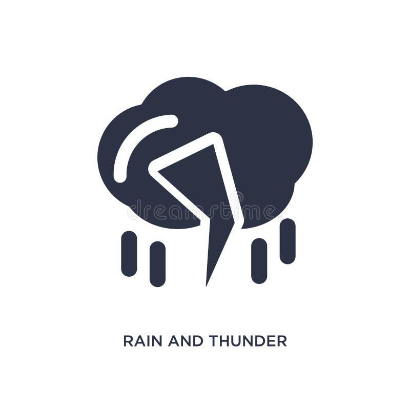 ícone da chuva e do trovão no fundo branco Ilustração simples do elemento do conceito da meteorologia ilustração stock