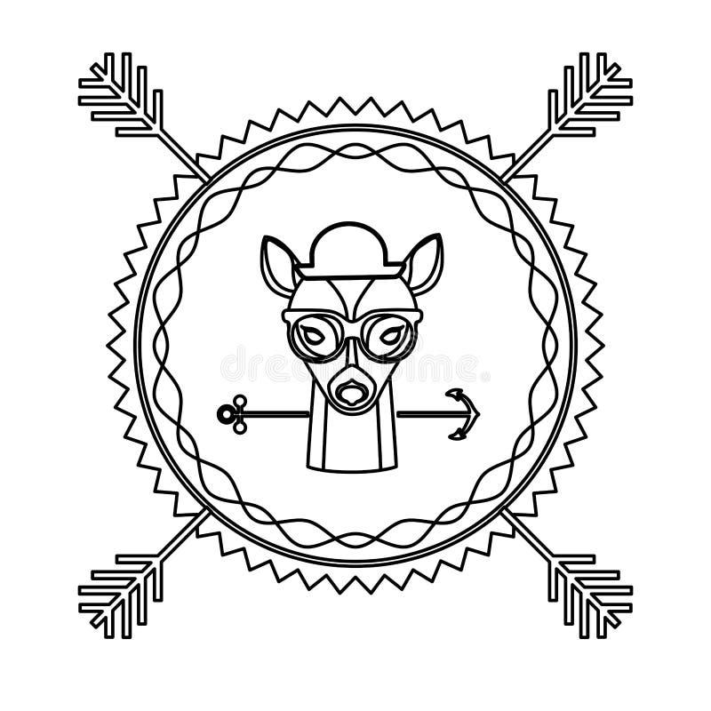 ícone da cidade do caçador do moderno dos cervos do emblema ilustração do vetor