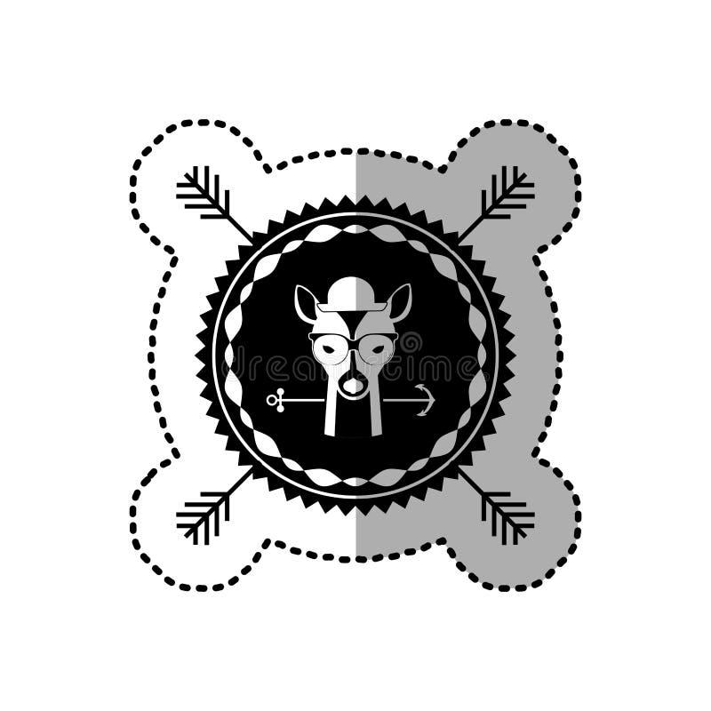 ícone da cidade do caçador do moderno dos cervos do emblema ilustração royalty free