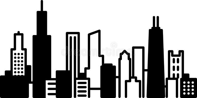 Ícone da cidade da skyline de Chicago ilustração royalty free