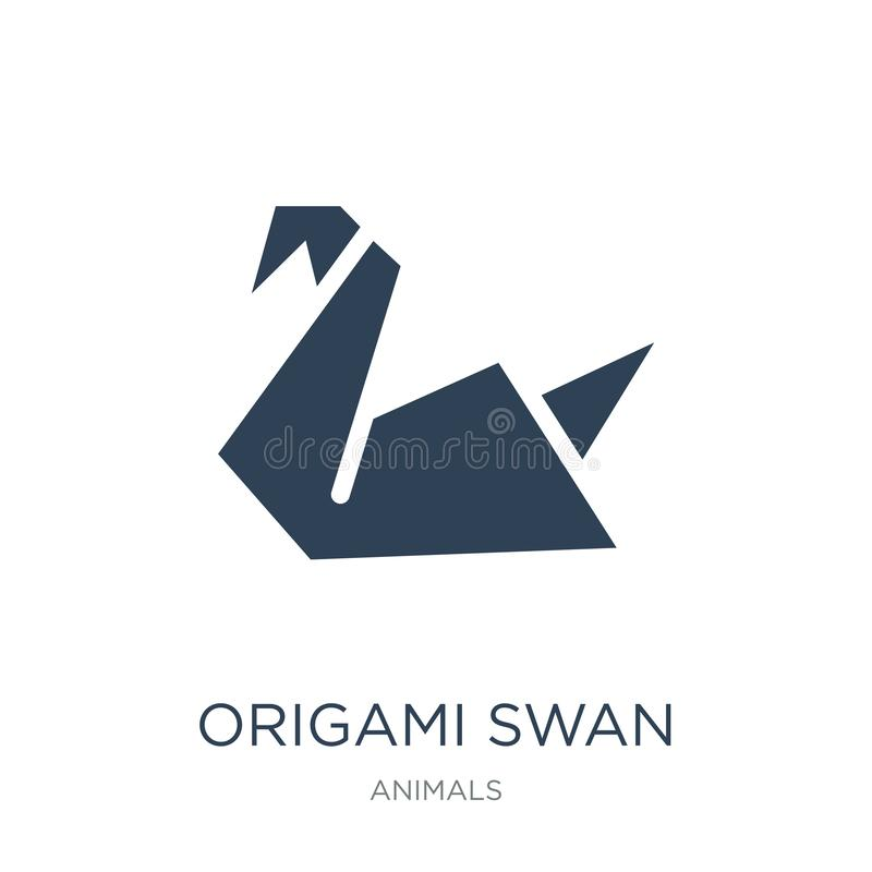 ícone da cisne do origâmi no estilo na moda do projeto ícone da cisne do origâmi isolado no fundo branco ícone do vetor da cisne  ilustração royalty free