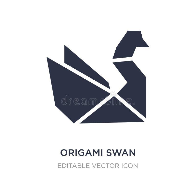 ícone da cisne do origâmi no fundo branco Ilustração simples do elemento do conceito dos animais ilustração royalty free