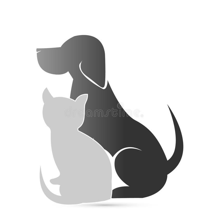 Ícone da clínica do animal de estimação do gato e do cão ilustração do vetor