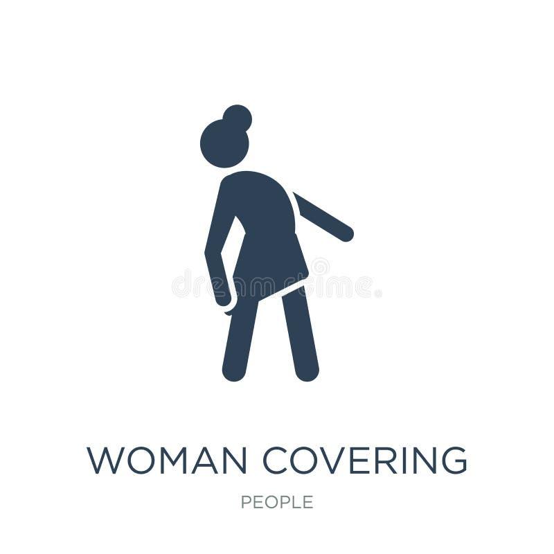 ícone da coberta da mulher no estilo na moda do projeto ícone da coberta da mulher isolado no fundo branco ícone do vetor da cobe ilustração stock