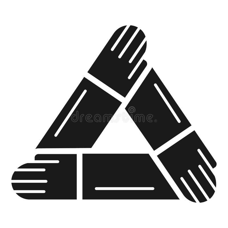 Ícone da coesão dos povos da mão, estilo simples ilustração do vetor