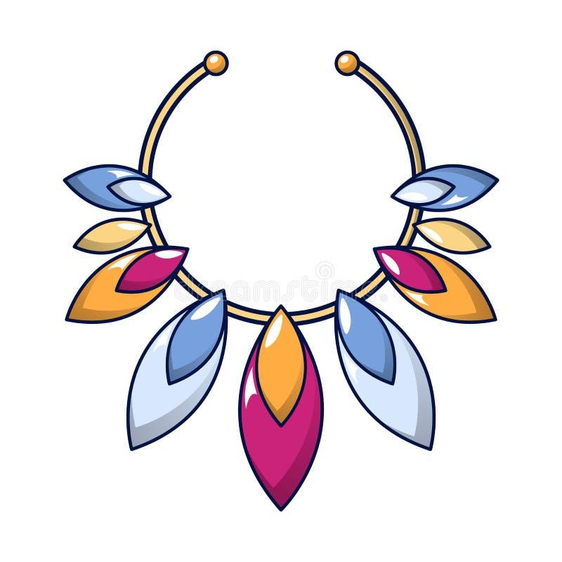 Ícone da colar de pedra preciosa, estilo dos desenhos animados ilustração do vetor