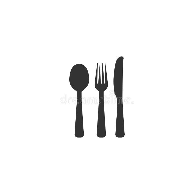 Ícone da colher, da forquilha e da faca no projeto simples Ilustração do vetor ilustração royalty free