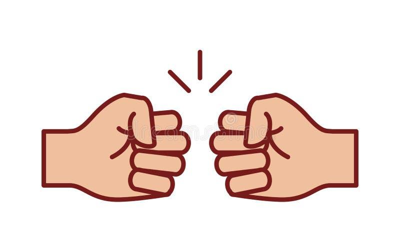 Ícone da colisão do punho, vetor em um fundo branco ilustração do vetor