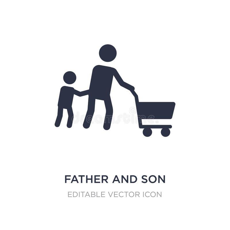 ícone da compra do pai e do filho no fundo branco Ilustração simples do elemento do conceito dos povos ilustração stock
