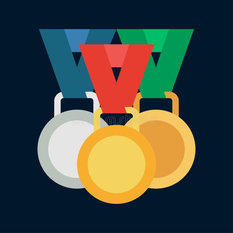 Ícone da concessão da medalha e do vencedor da cor do vetor Equipamento de esporte, símbolo do sucesso Competição atlética Recomp ilustração royalty free