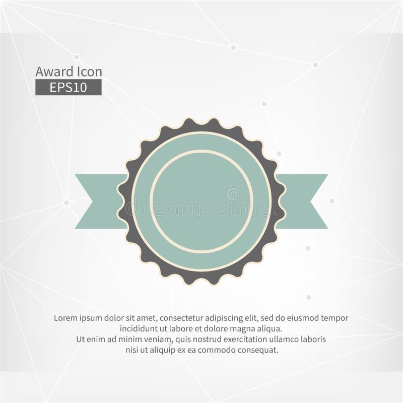 Ícone da concessão Sinal infographic do vetor para o primeiro lugar Circunde o símbolo com a fita no fundo cinzento abstrato do t ilustração do vetor