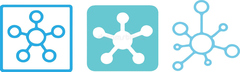 Ícone da conexão de rede do cubo no fundo da cor ilustração royalty free