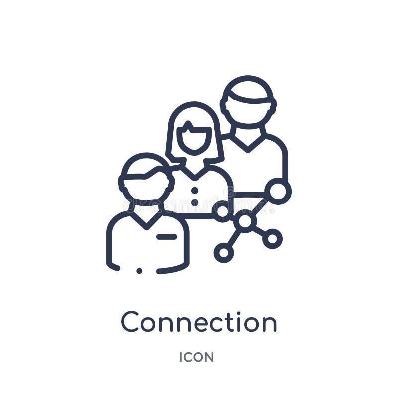 Ícone da conexão linear da coleção do esboço do serviço ao cliente Linha fina vetor da conexão isolado no fundo branco ilustração do vetor