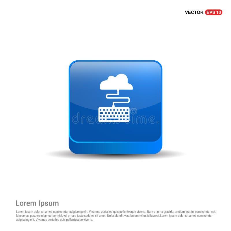 Ícone da conexão da nuvem - botão do azul 3d ilustração royalty free