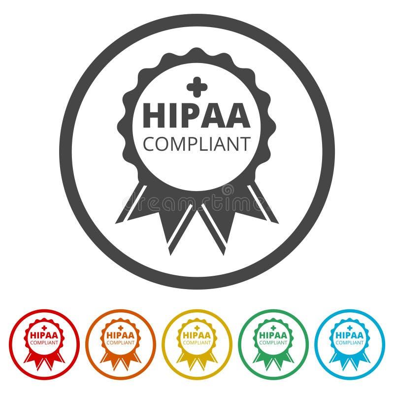 Ícone da conformidade de HIPAA, 6 cores incluídas ilustração royalty free