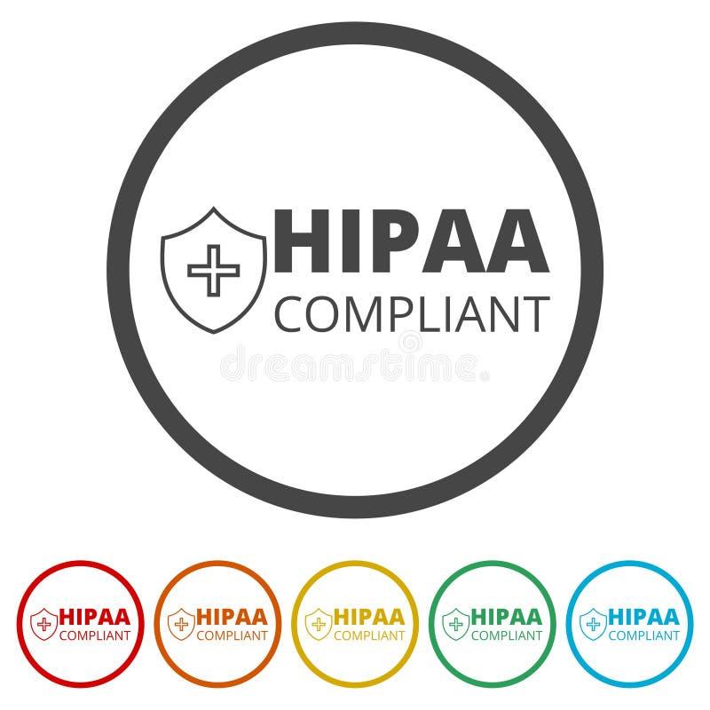 Ícone da conformidade de HIPAA, 6 cores incluídas ilustração do vetor