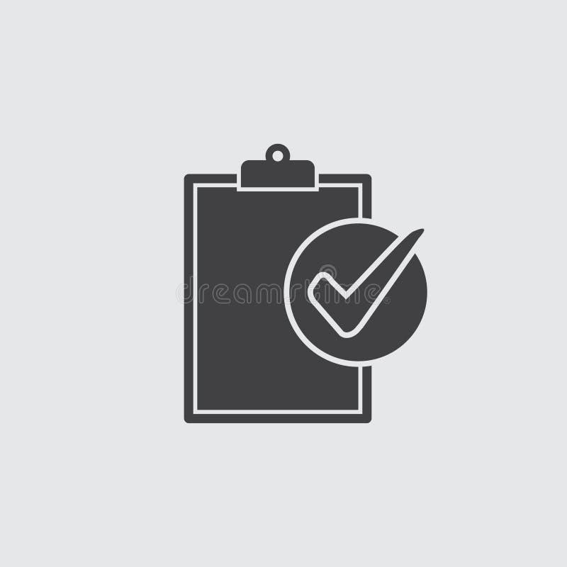 Ícone da conformidade no preto em um fundo cinzento Ilustração do vetor ilustração do vetor