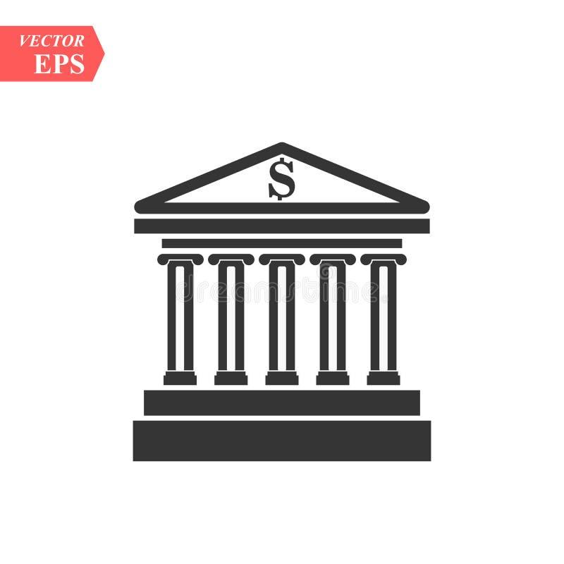 Ícone da construção de banco, ícone EPS10 do vetor do projeto liso o melhor ilustração stock