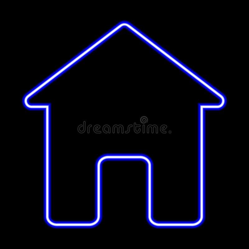 Ícone da construção de casas Elementos da Web nos ícones de néon do estilo Ícone simples para Web site, design web, app móvel, gr ilustração stock