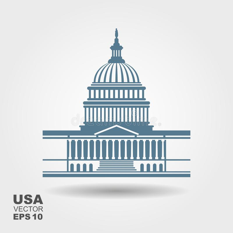 Ícone da construção do Capitólio do Estados Unidos no Washington DC ilustração royalty free
