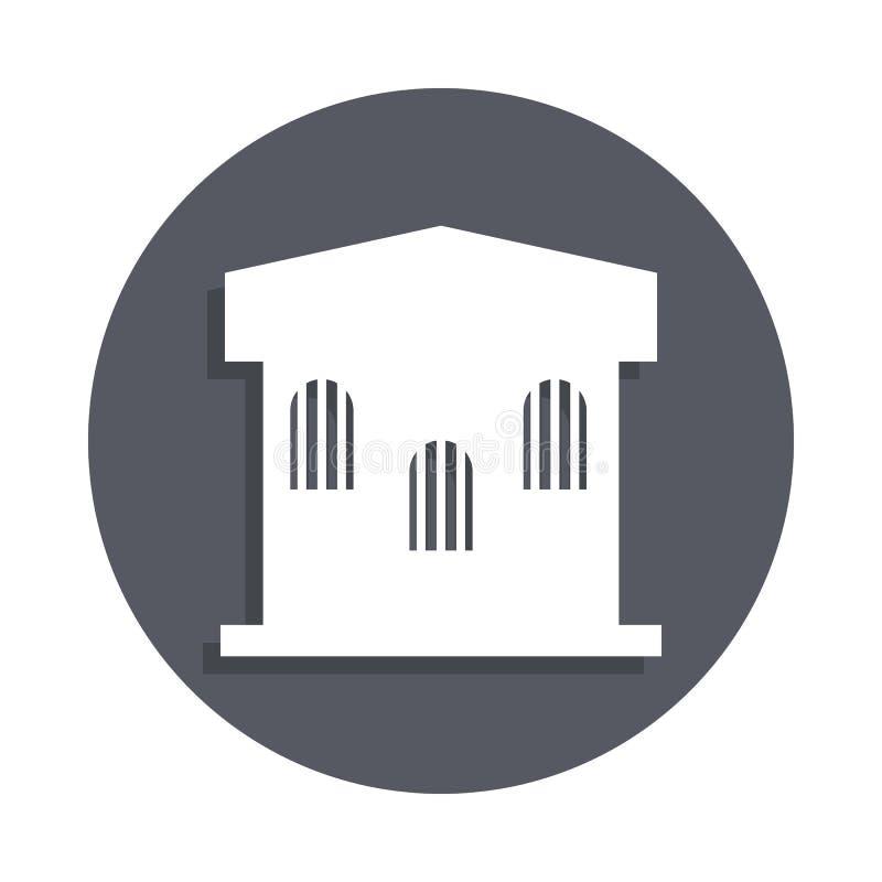 ícone da construção da prisão no estilo do crachá Um do ícone da coleção das construções pode ser usado para UI, UX ilustração stock