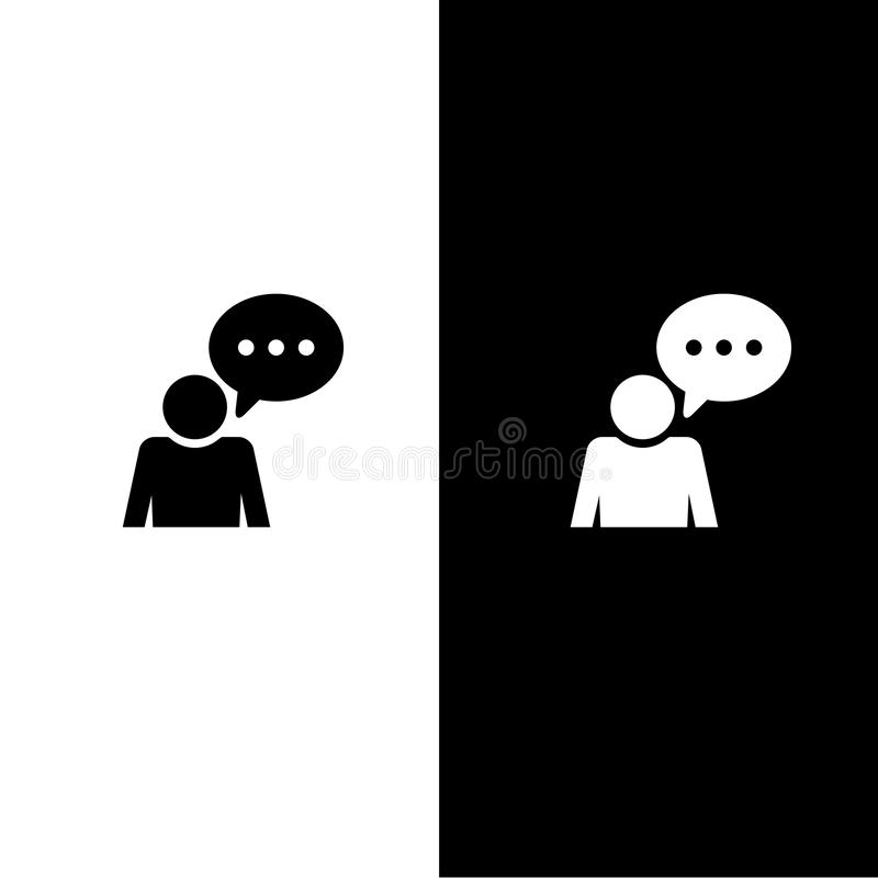 Ícone da conversação do comentário isolado na ilustração redonda azul ciana do sumário do botão ilustração do vetor