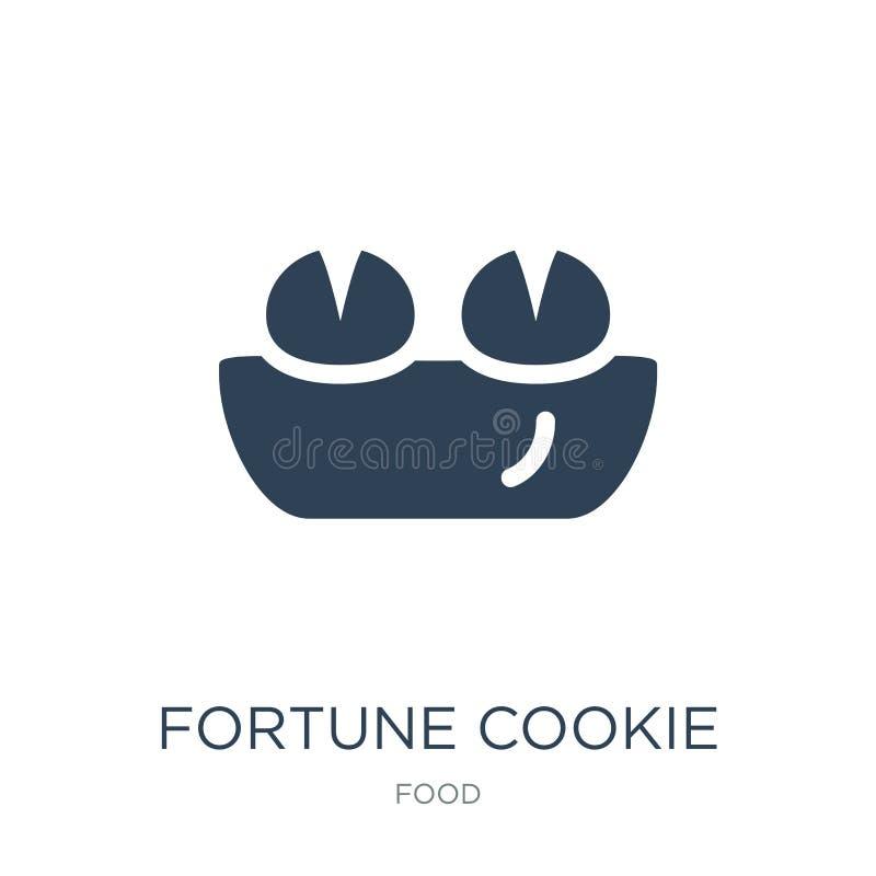 ícone da cookie de fortuna no estilo na moda do projeto Ícone da cookie de fortuna isolado no fundo branco ícone do vetor da cook ilustração royalty free