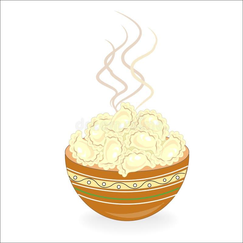Ícone da cor com o prato nacional ucraniano Vareniki com requeijão, batatas, carne, bolinhas de massa Decora??o da tabela festiva ilustração royalty free
