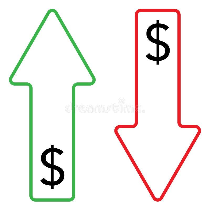 Ícone da cor crescente e de queda do dólar ilustração stock