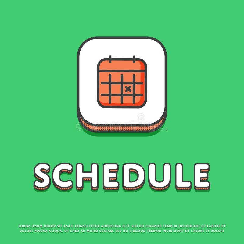 Ícone da cor da programação com sinal do calendário ilustração royalty free