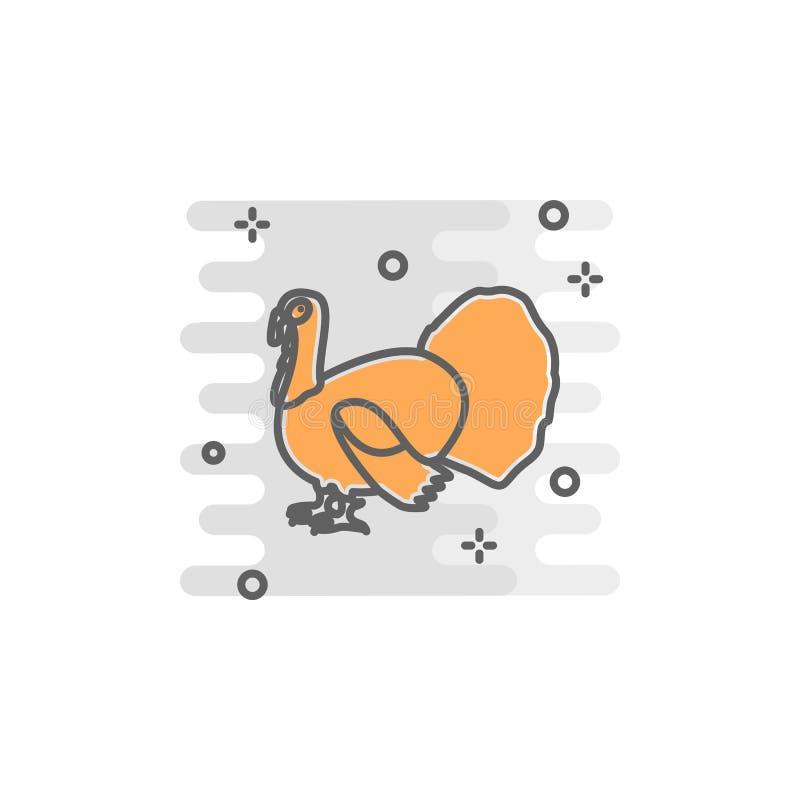 Ícone da cor de Turquia Elemento da ilustração feliz do dia da ação de graças Ícone superior do projeto gráfico da qualidade Sina ilustração royalty free