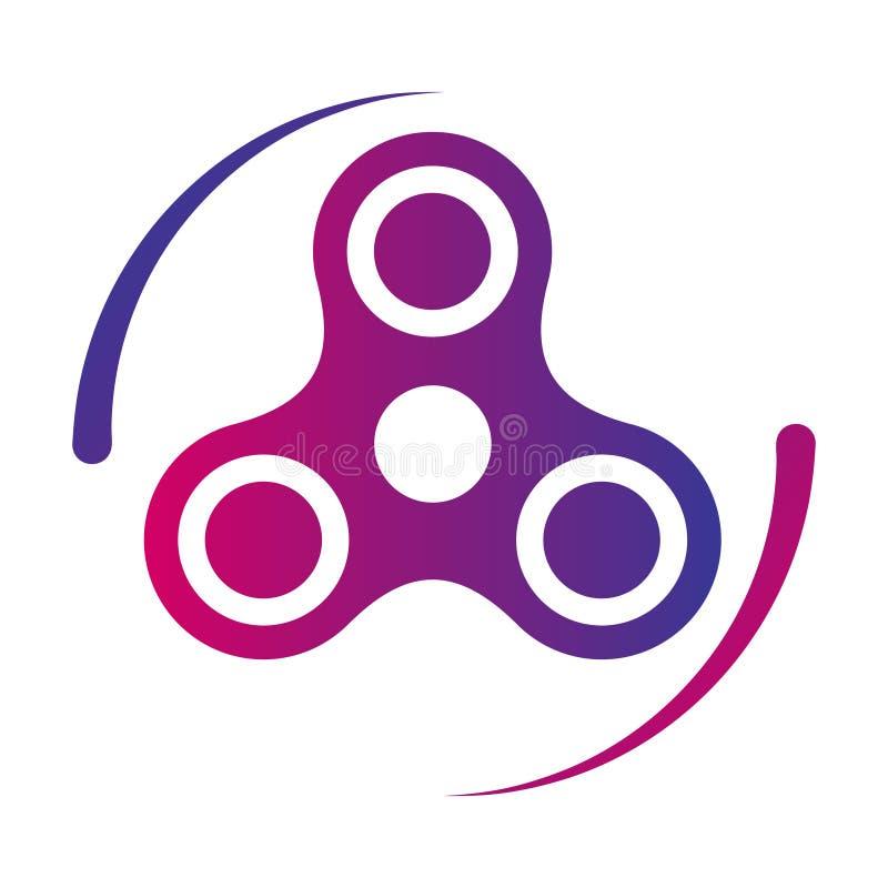 Ícone da cor do inclinação do vetor do brinquedo da inquietação do girador da mão ilustração stock