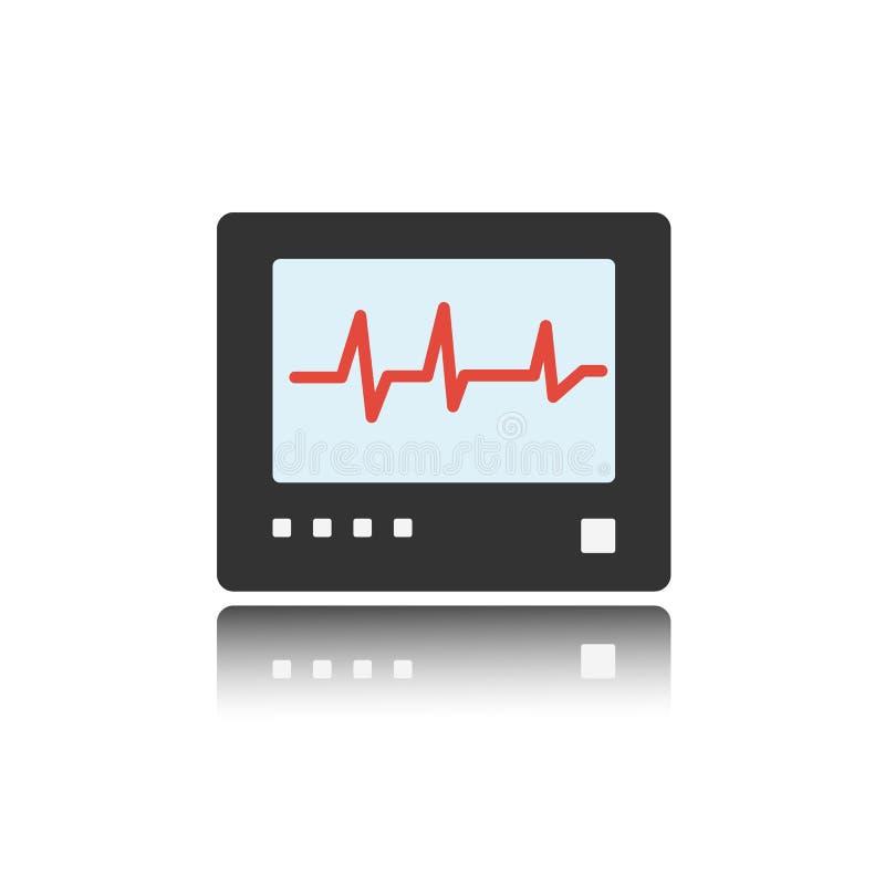 Ícone da cor do monitor da frequência cardíaca com reflexão heartbeat ilustração stock