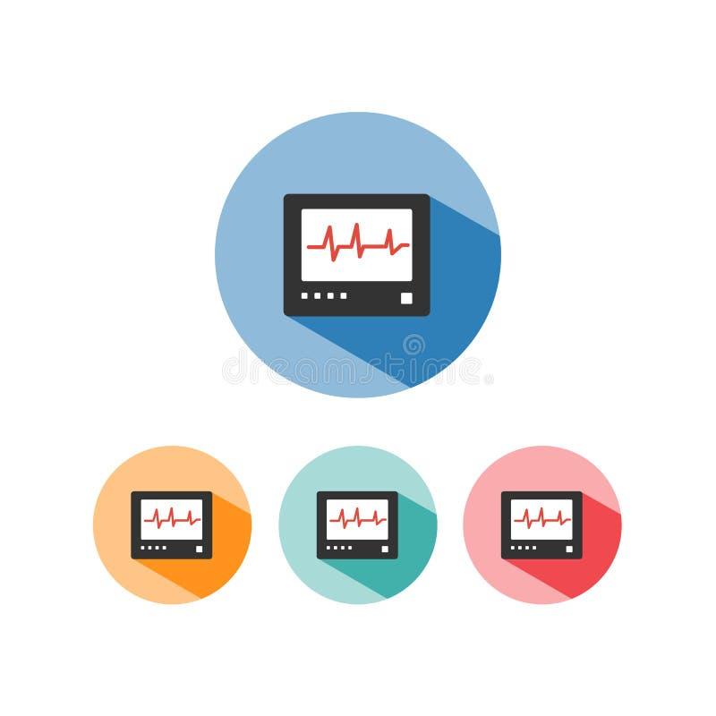 Ícone da cor do monitor da frequência cardíaca com sombra em círculos coloridos heartbeat ilustração stock